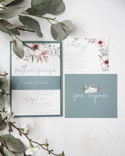 sage green floral wedding invitation