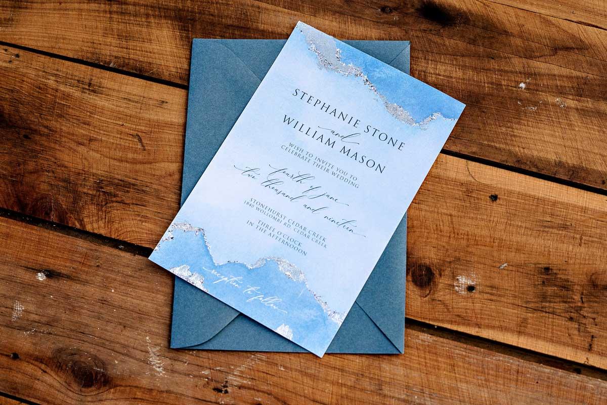 winter silver foil wedding invitation