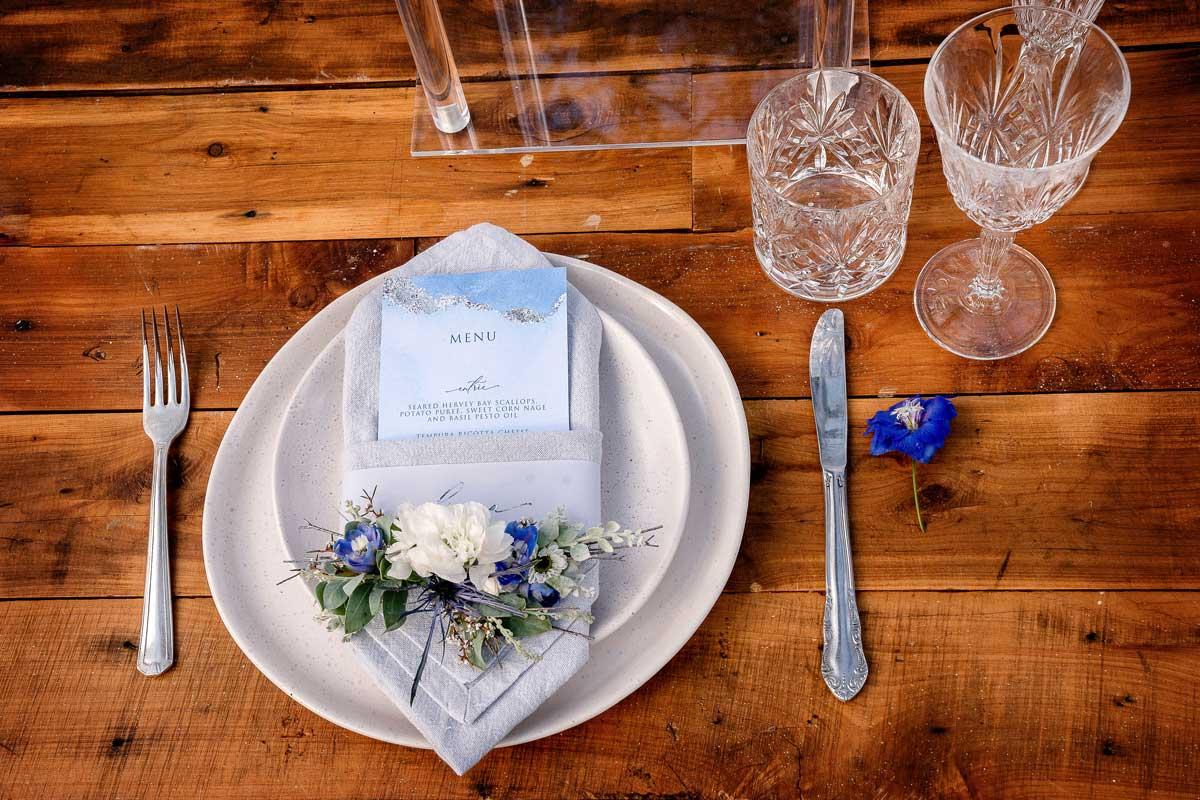 winter silver foil wedding invitation menu