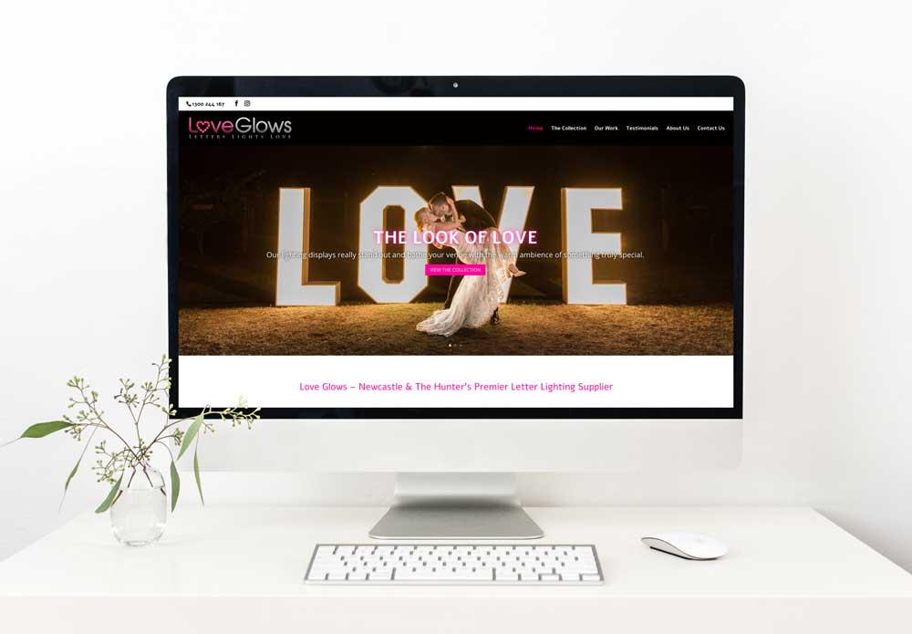 love glows website design