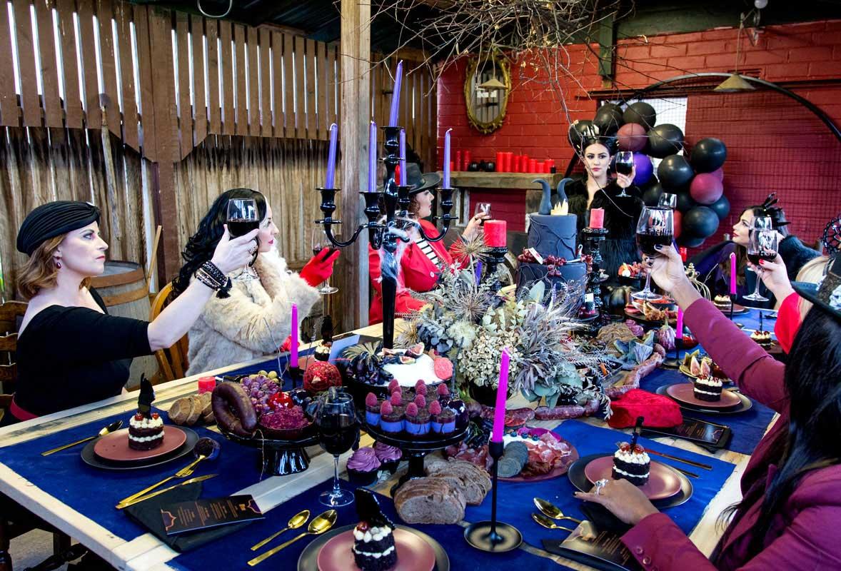 confetti fair halloween malificent invitation table setting