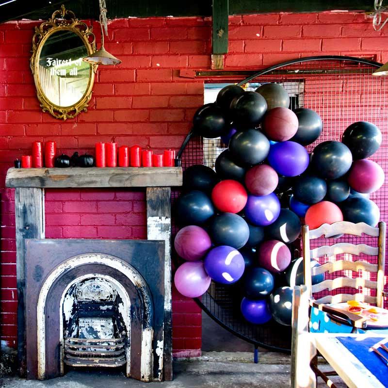 confetti fair halloween malificent invitation fireplace balloons