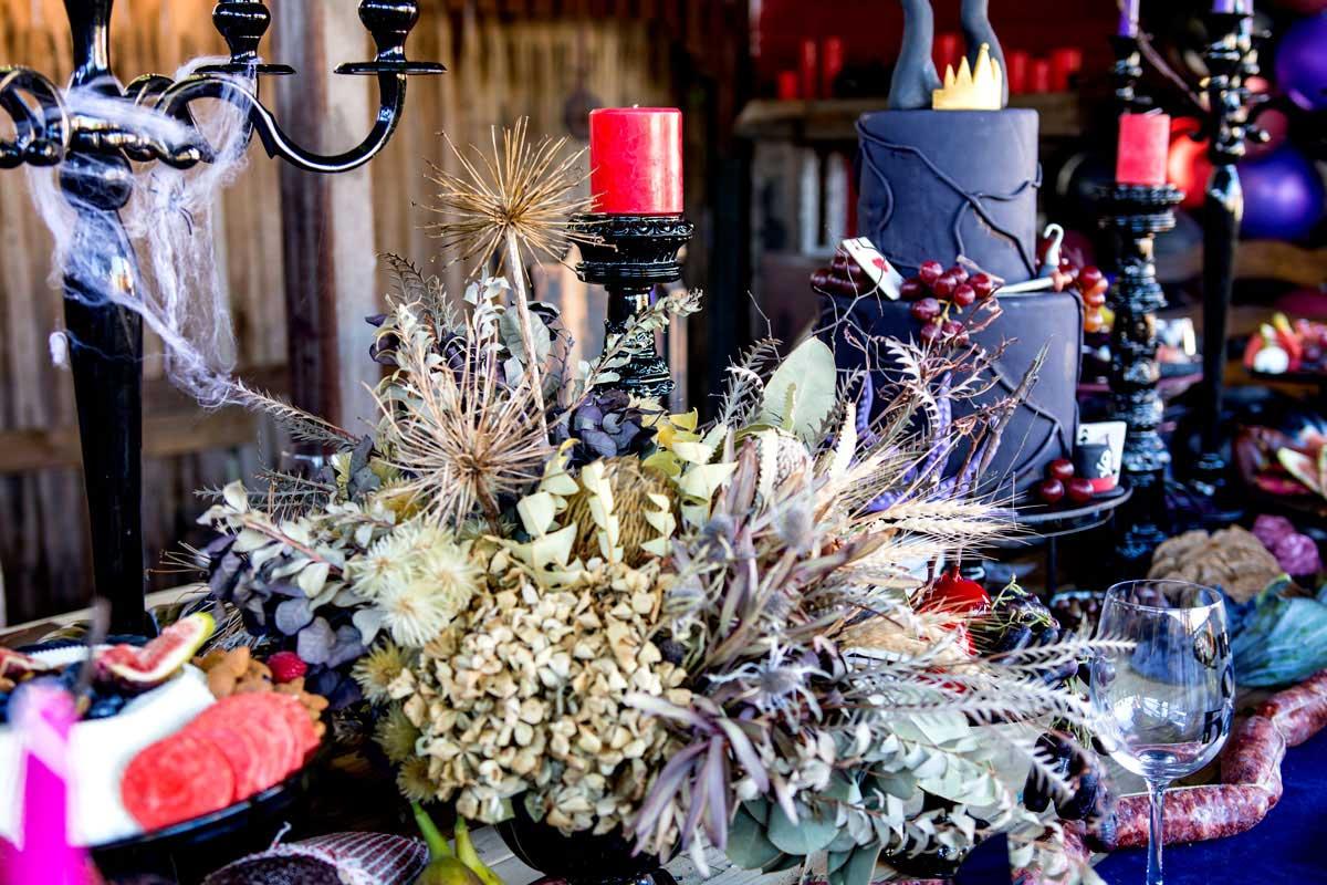 confetti fair halloween malificent invitation floral centerpiece