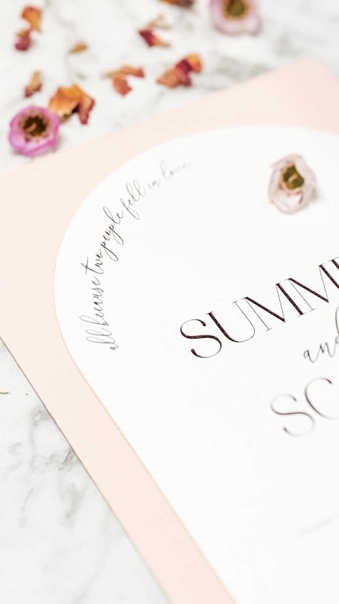 arc diecut wedding invitation blush white