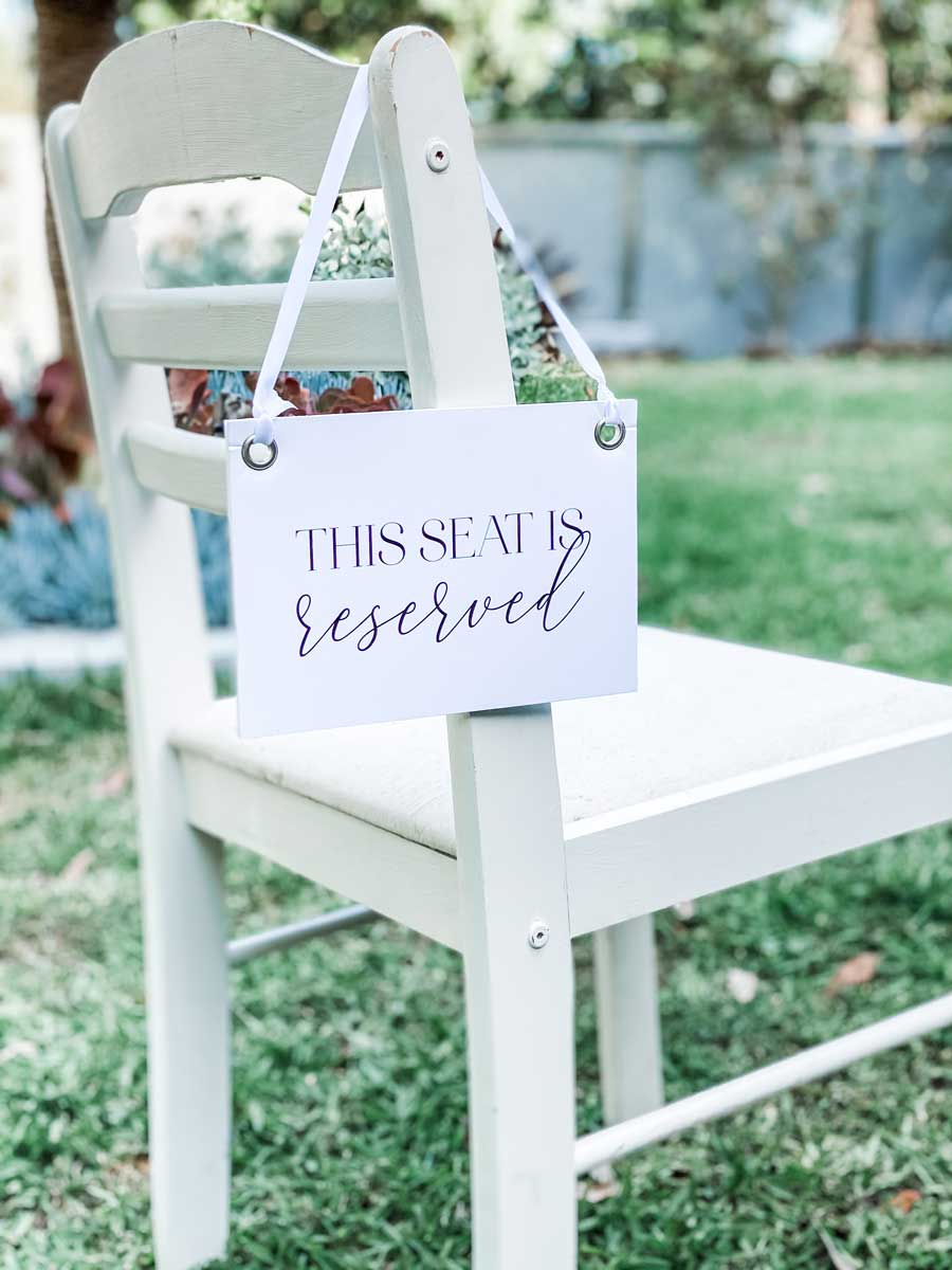 reseved seating sign wedding reception