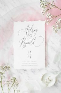 classic black and white white deckle edge wedding invitation