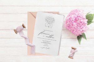 hydrangea classic wedding invitation deckle edge