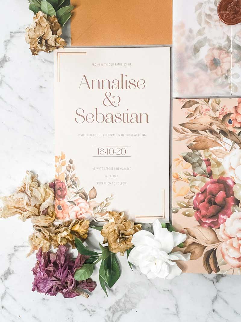 autumn tone wedding invitation
