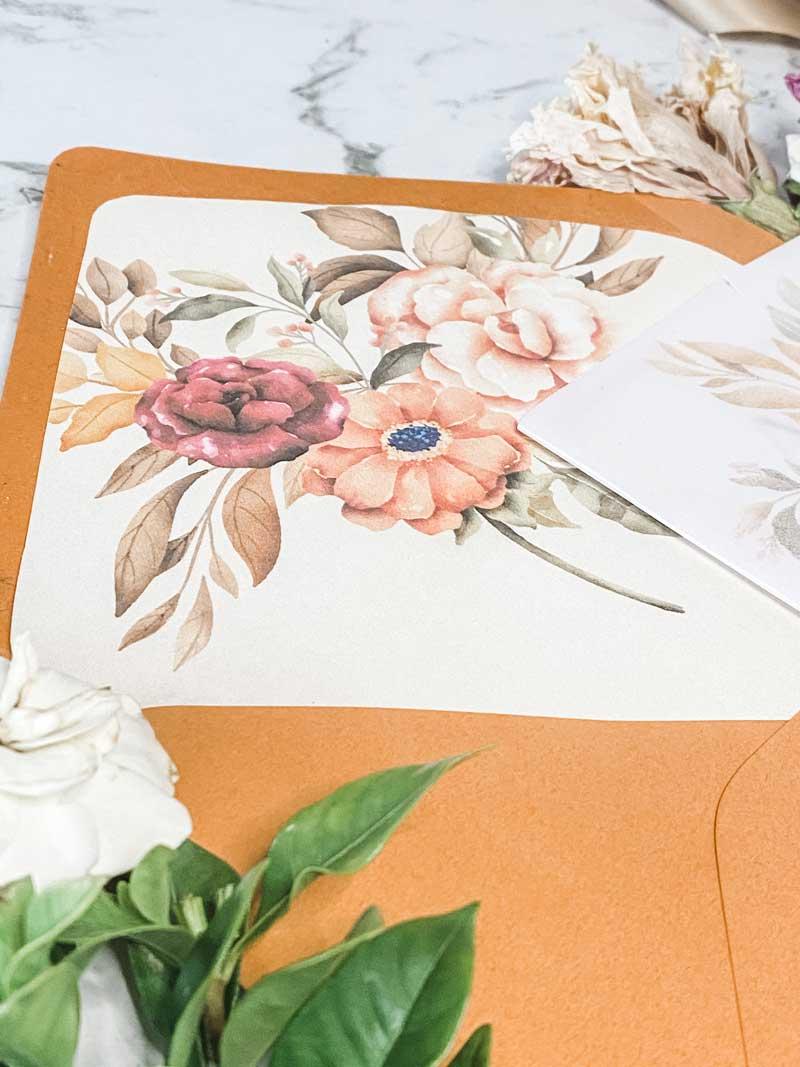 autumn tone florals envelope liner