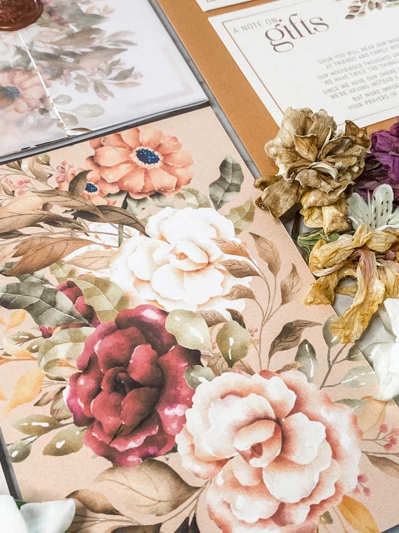 autumn tone florals wedding invitation