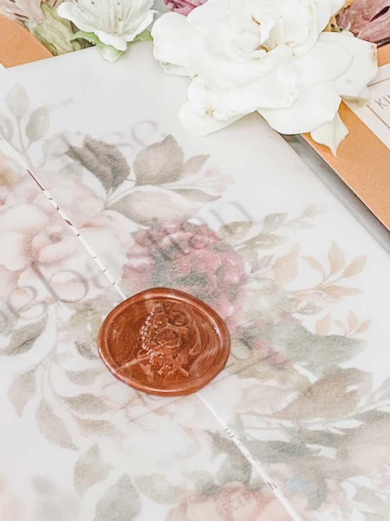 vellum wrap autumn tone florals wedding invitationwax seal