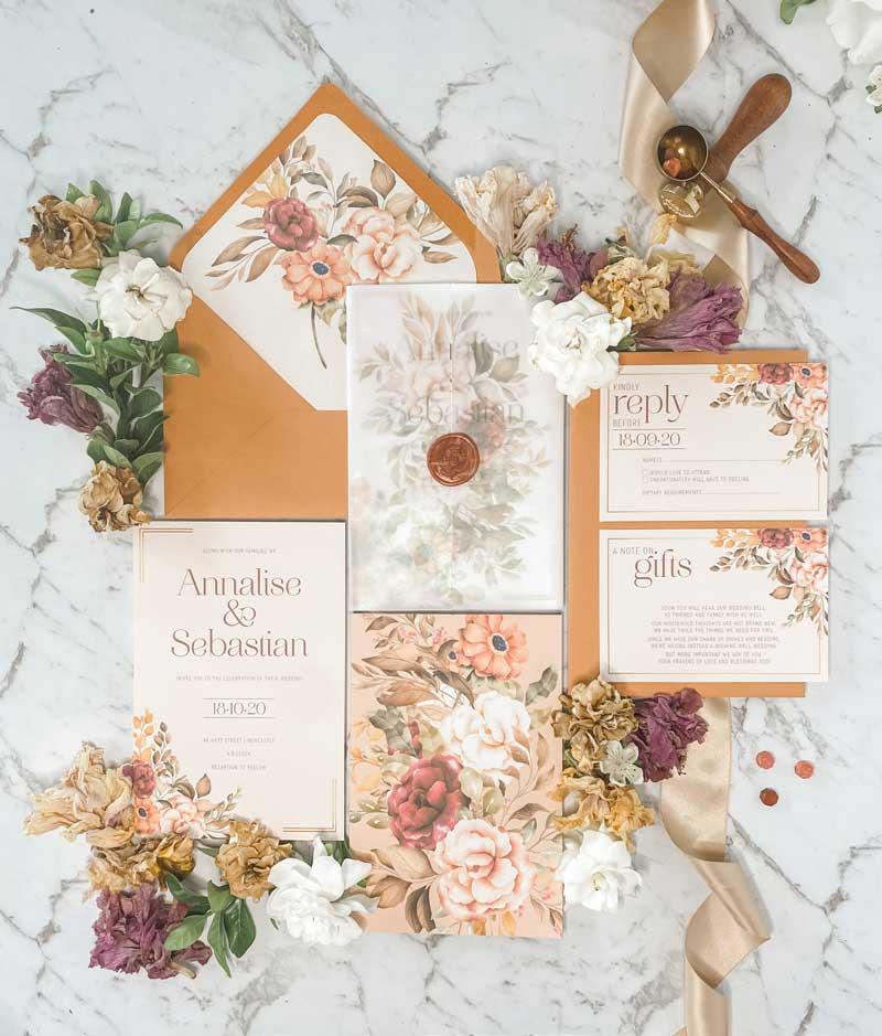 autumn tone floral vellum wrap wedding invitation suite