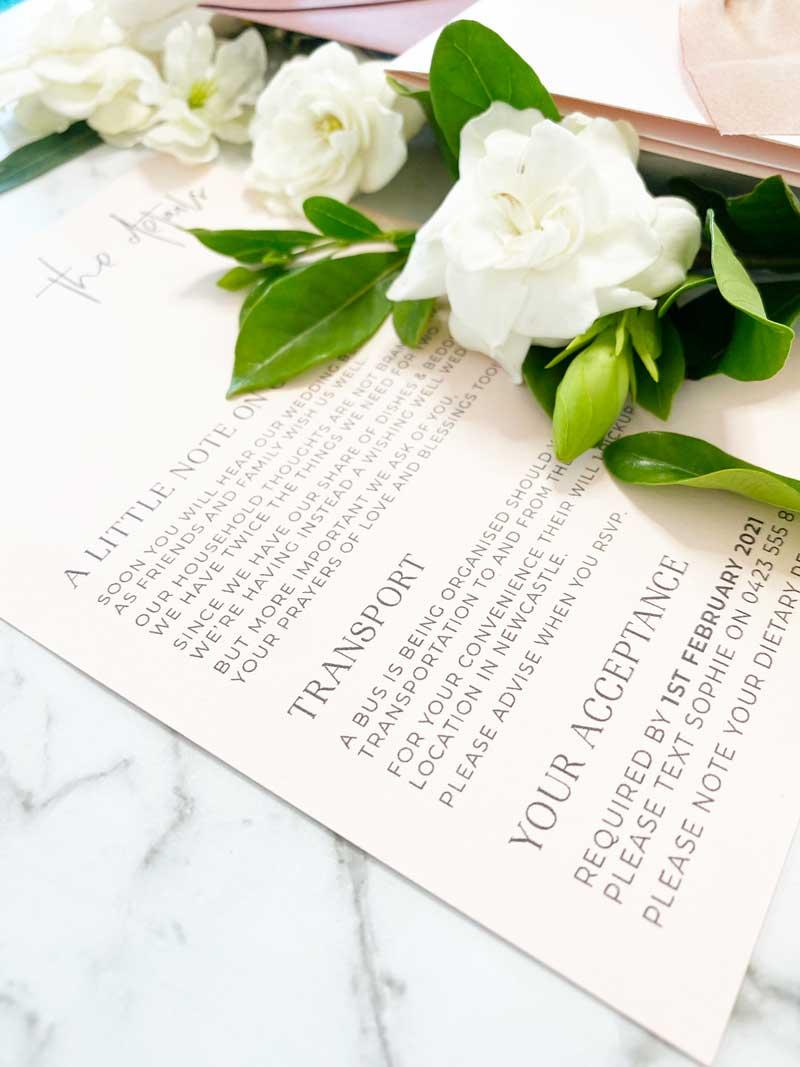 blush pink wedding invitation details card