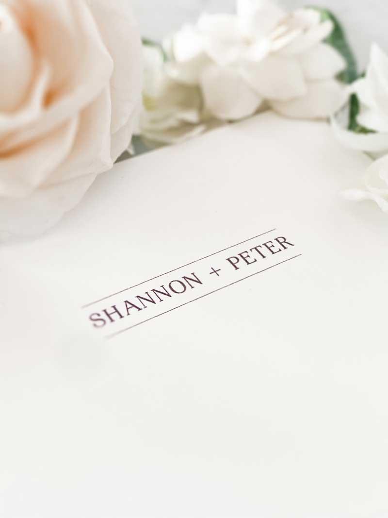 light blue diecut pocket wedding invitation