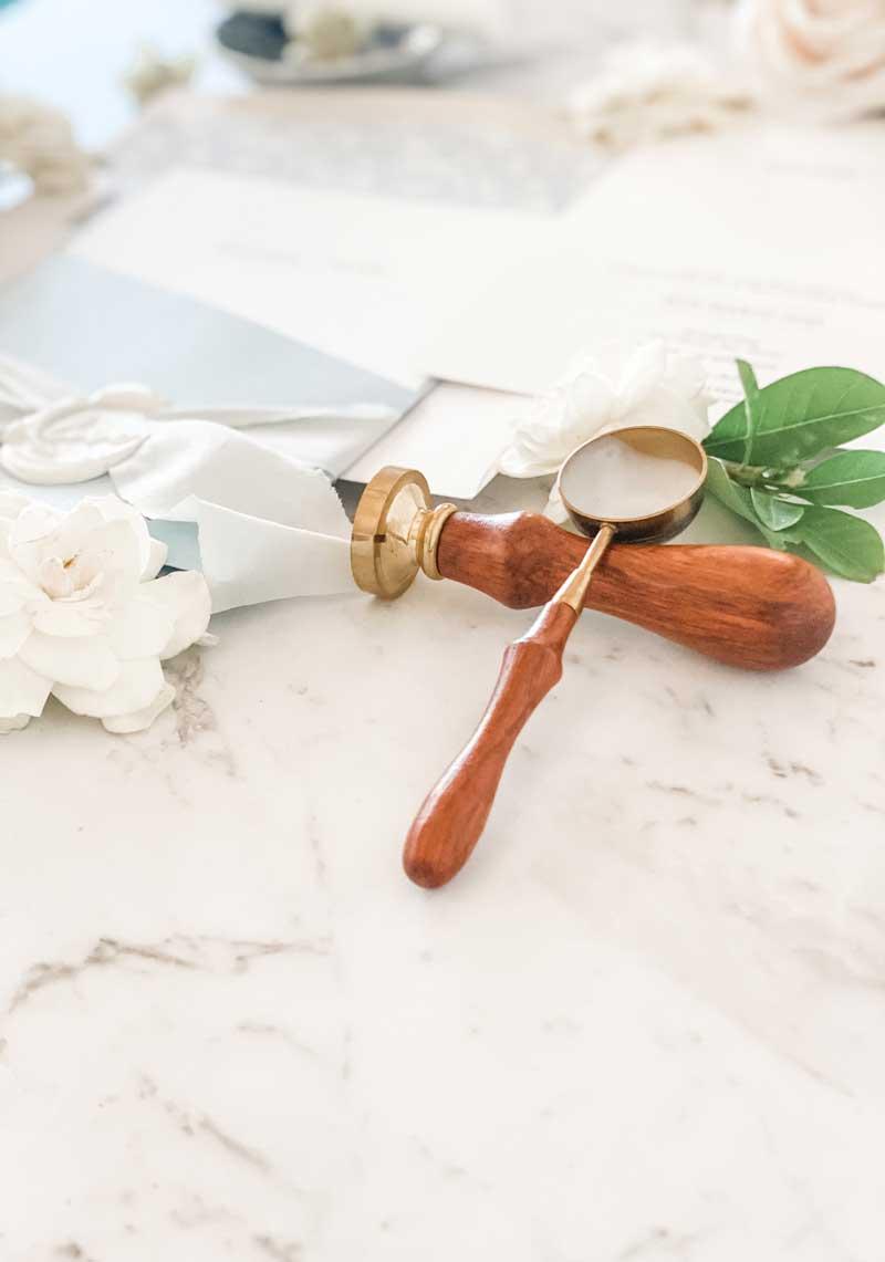 light blue diecut pocket wedding invitation wax spoon