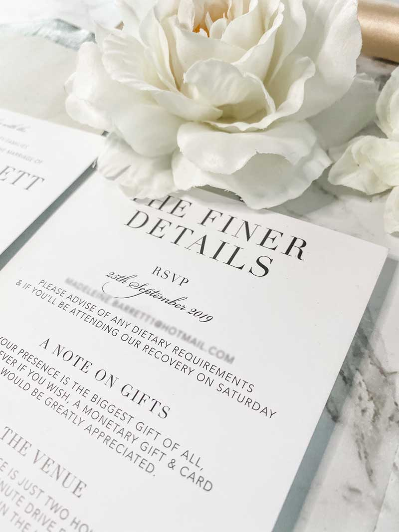 black and white wedding info card