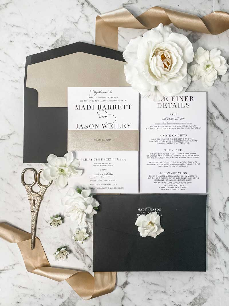 black and neutral wedding invitation suite