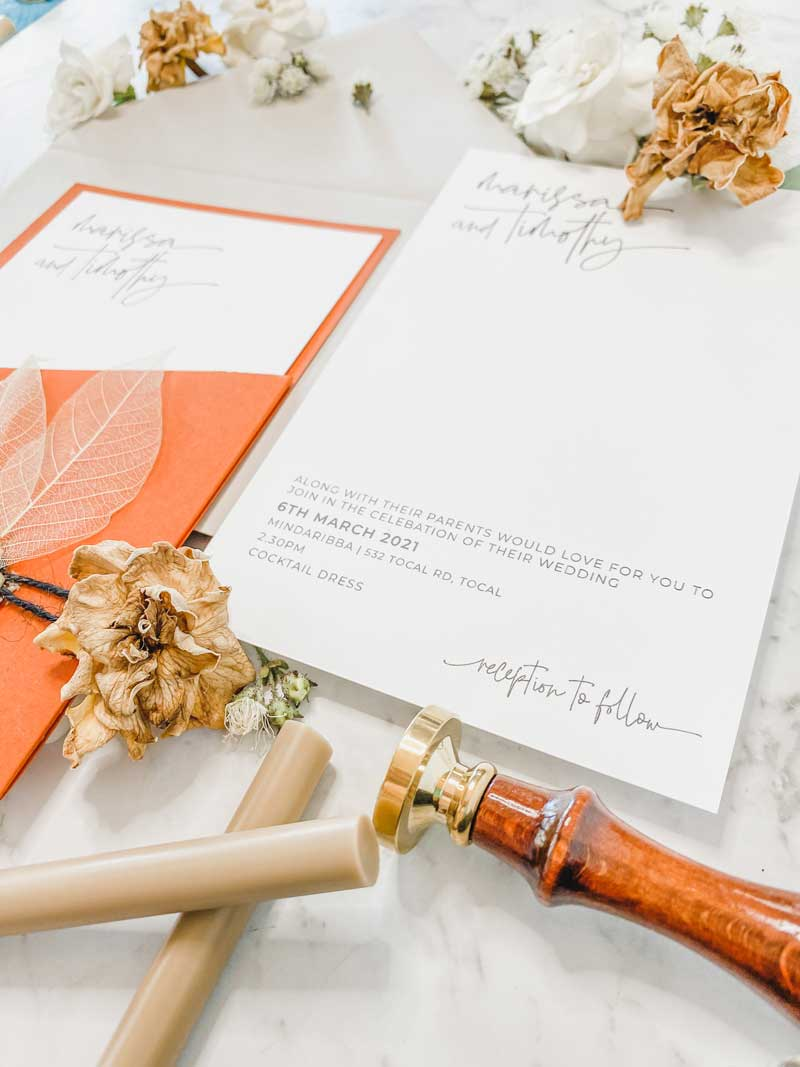 terracootta diecut wedding invitation inv