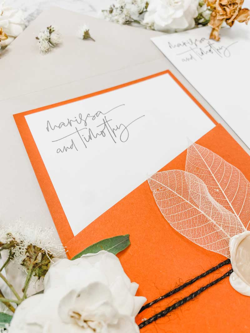 terracootta diecut wedding invitation side