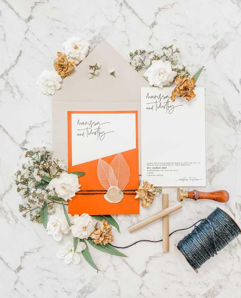terracootta diecut wedding invitation suite