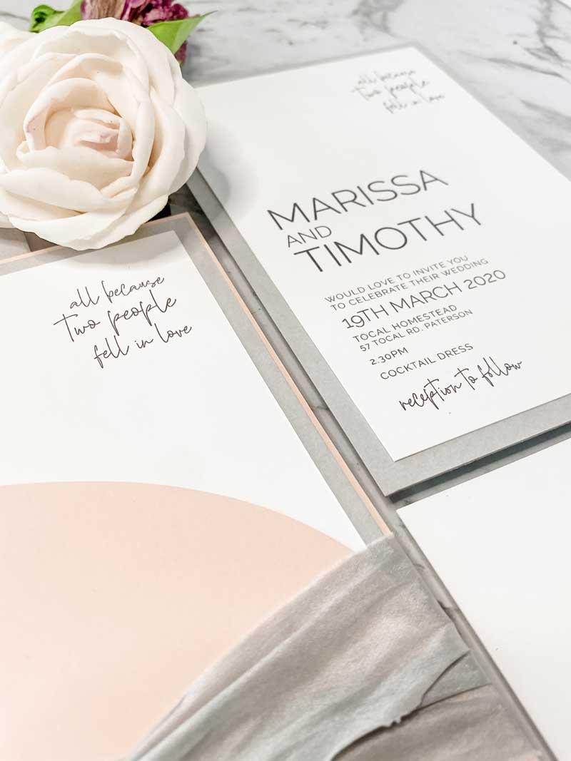 pink and grey arc diecut wedding invitation suite