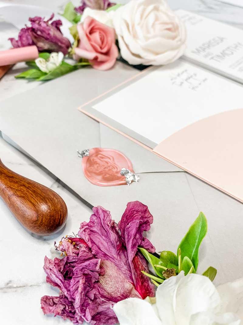 pink and grey arc diecut wedding invitation suite wax seal