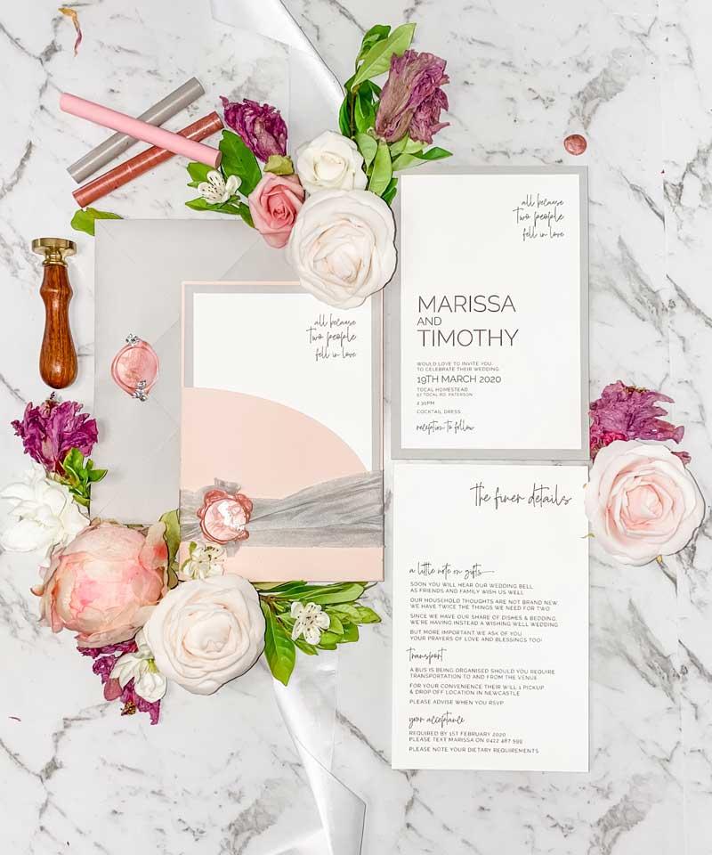 blush pink wedding invitation suite silk ribbon