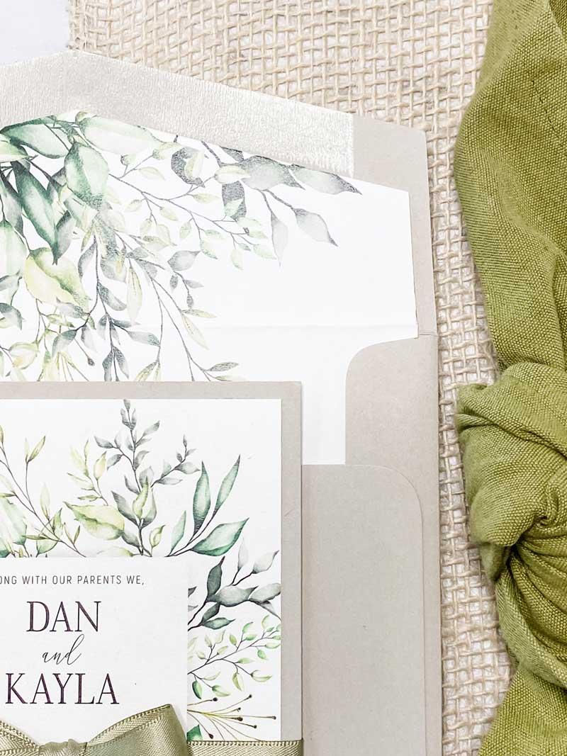 botanic wedding invitation with olive ribbon green beige envelope liner