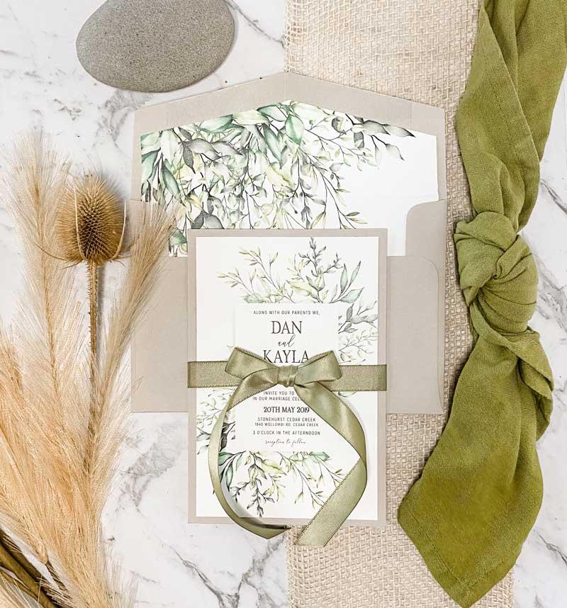 botanic wedding invitation stationery suite
