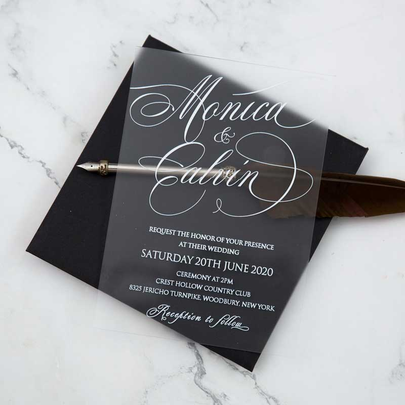frosted acrylic black and white wedding invitation