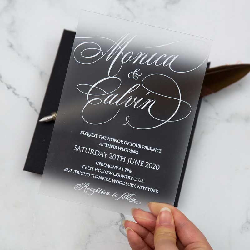 frosted acrylic black and white wedding invitation hand