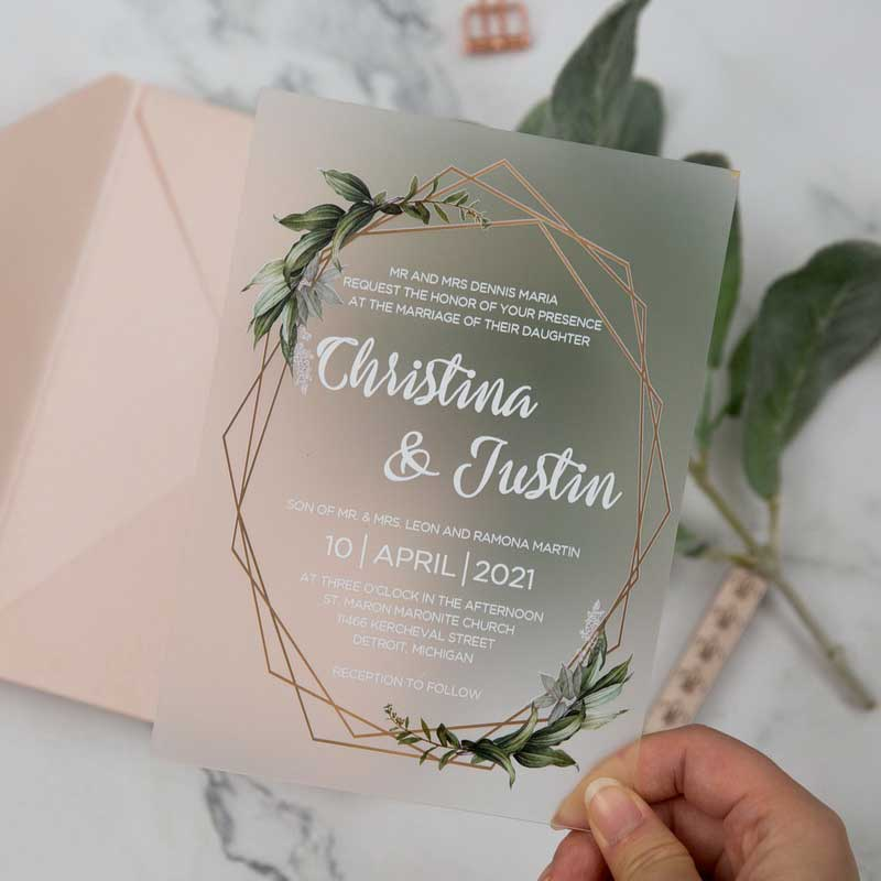 frosted acrylic botanical wedding invitation hand