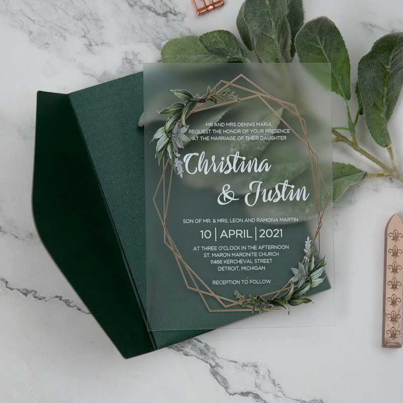 frosted acrylic botanical wedding invitation