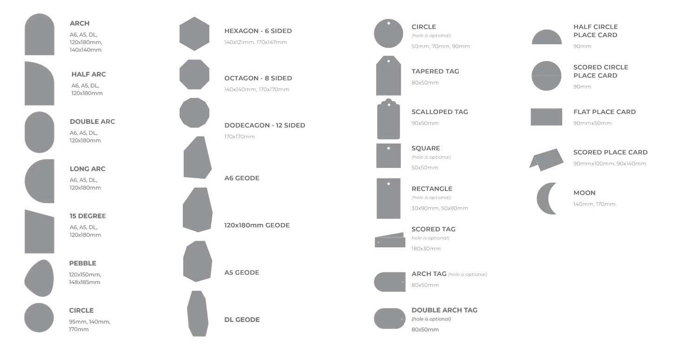 die-cut invitation shapes