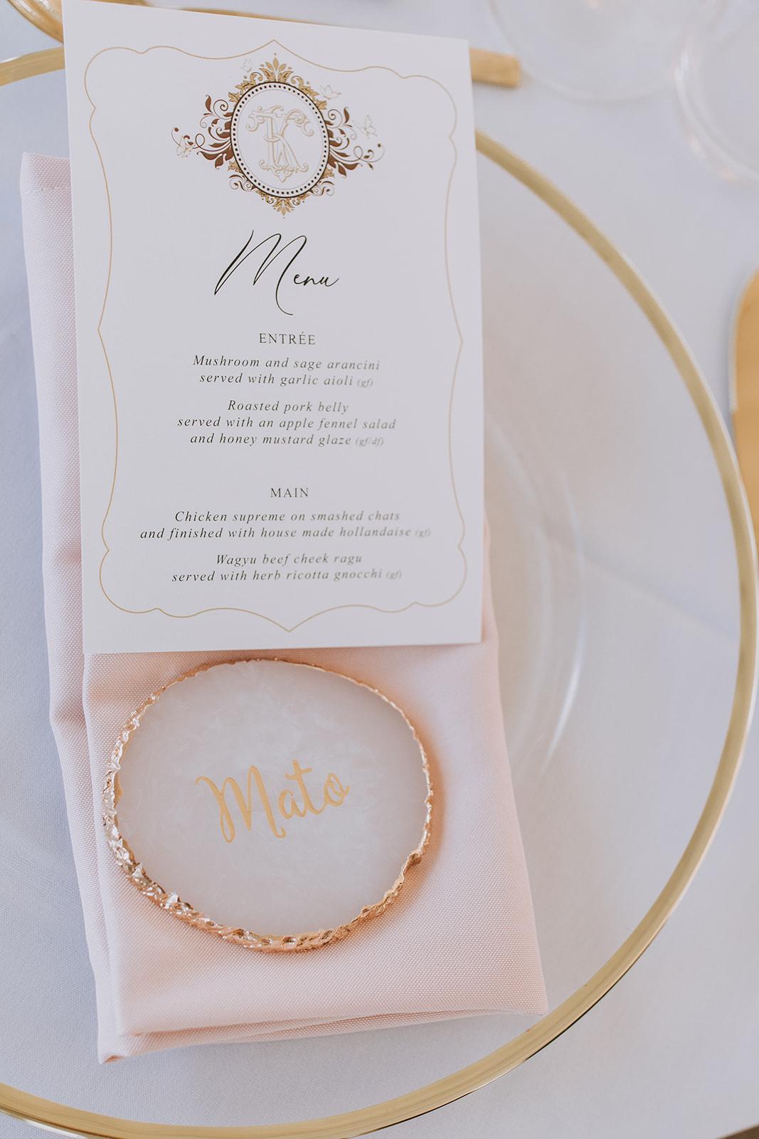 monogram white and gold menu cards