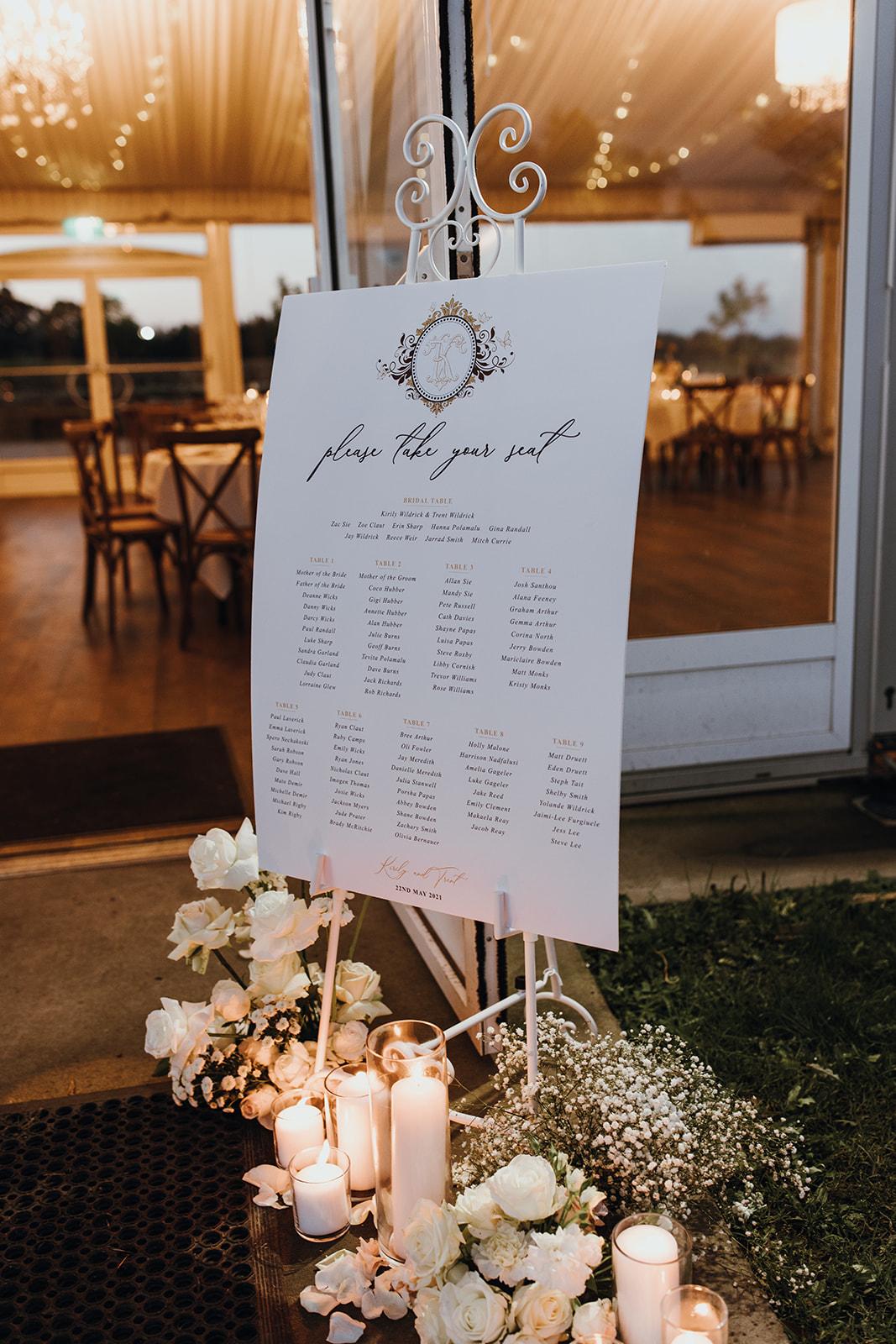 table seating chart personalised monogram