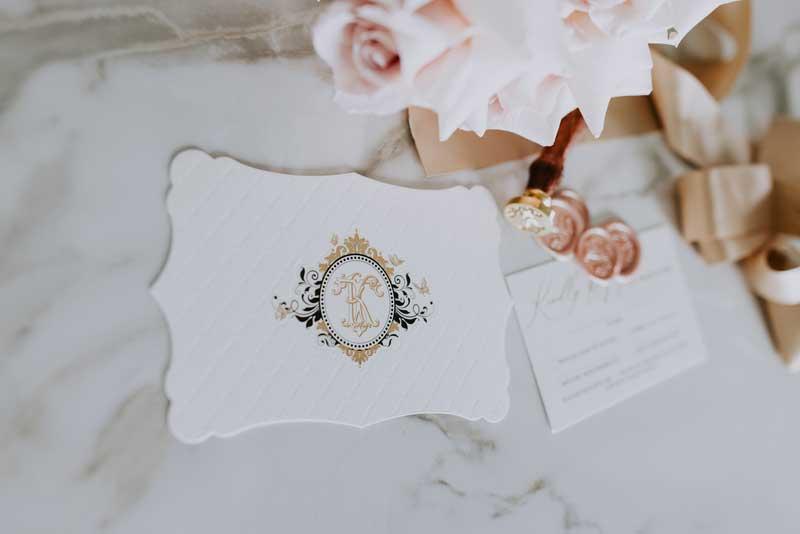 gold foi letterpress diecut luxurious wedding invitation