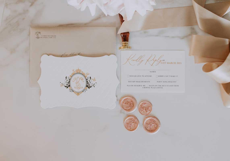 gold foil letterpress diecut luxurious wedding invitation