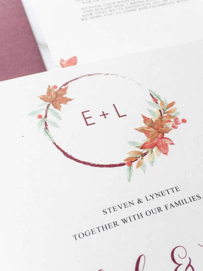 liz autumn leaves wedding monogram