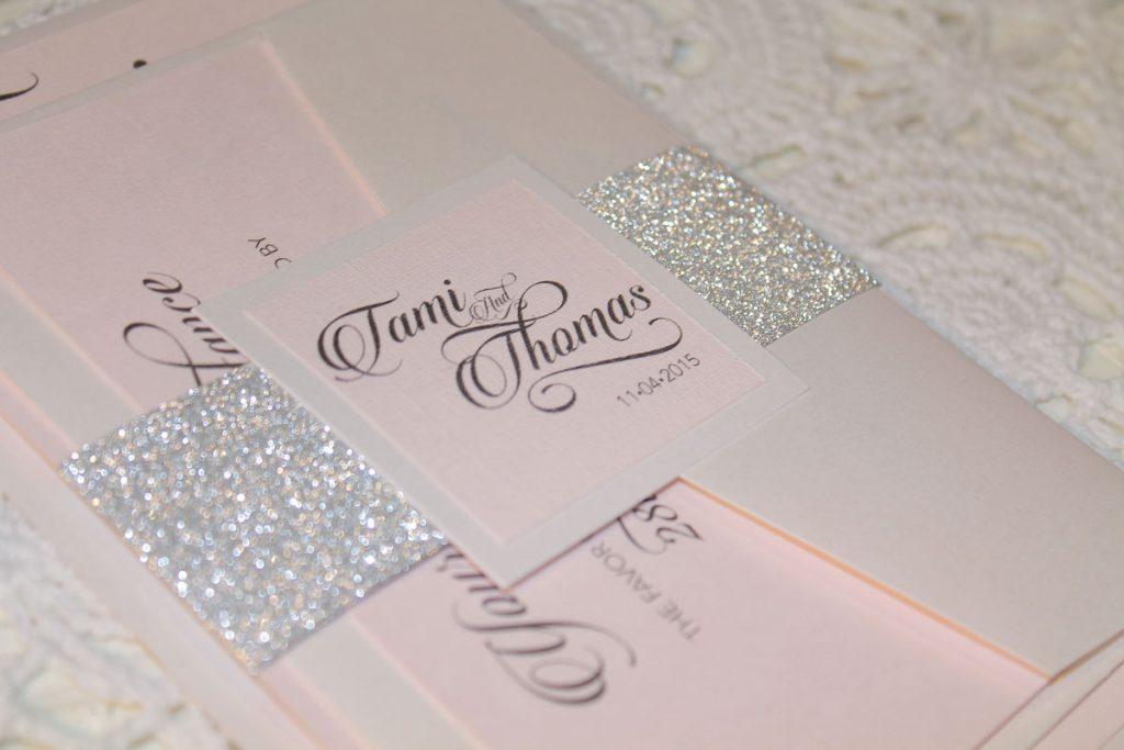 pink silver glitter wedding invitation suite
