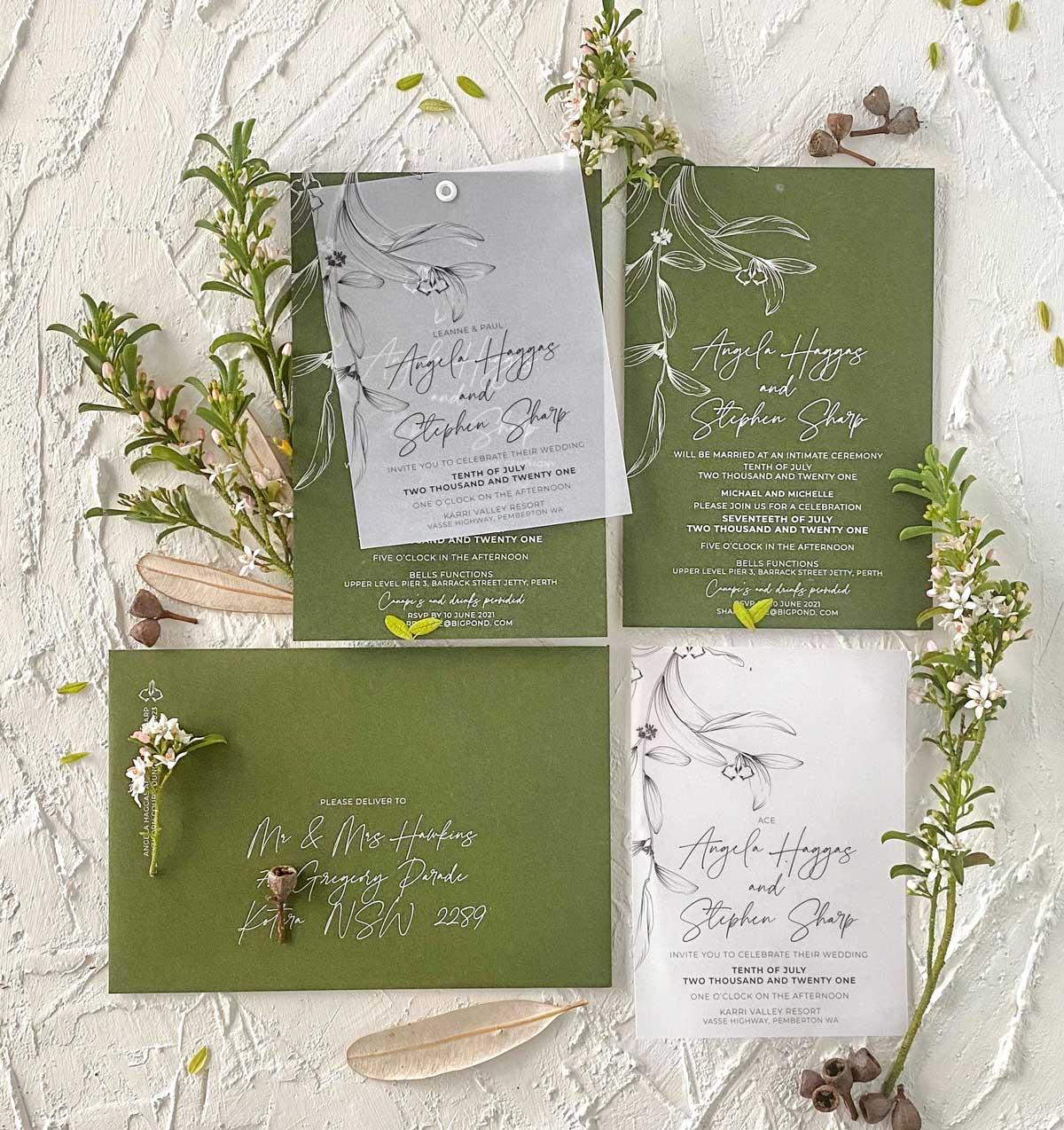 leaf green vellum wedding invitation suite eyelet