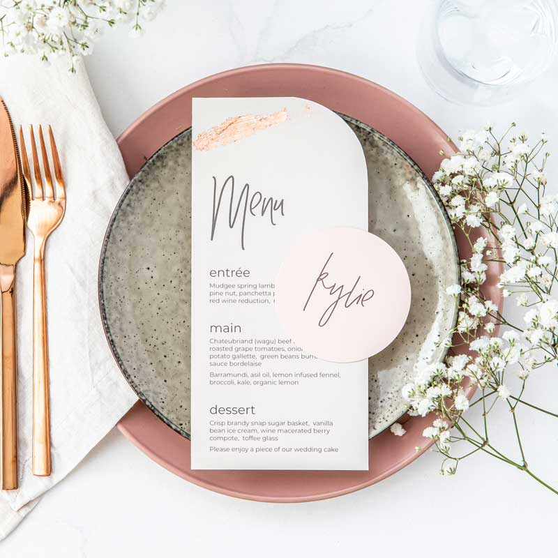 sprout dining blush pink gold gilding wedding invitation details card