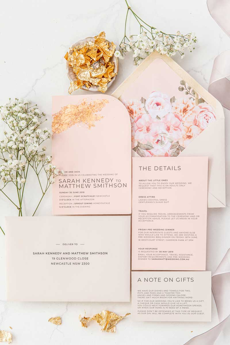 sprout dining blush pink gold gilding wedding invitation suite