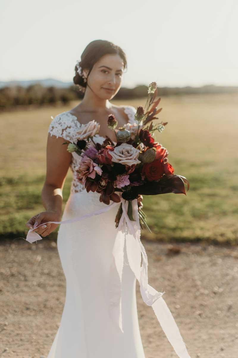 binet winery bridal wedding dress flowers