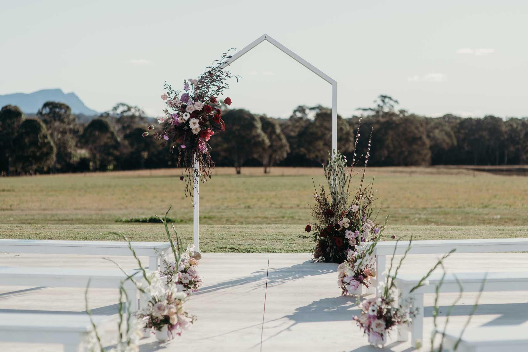 binet winery wedding ceremony arch