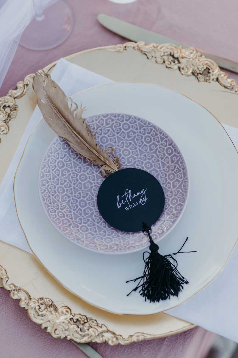 binet winery reception table round place card with tassel