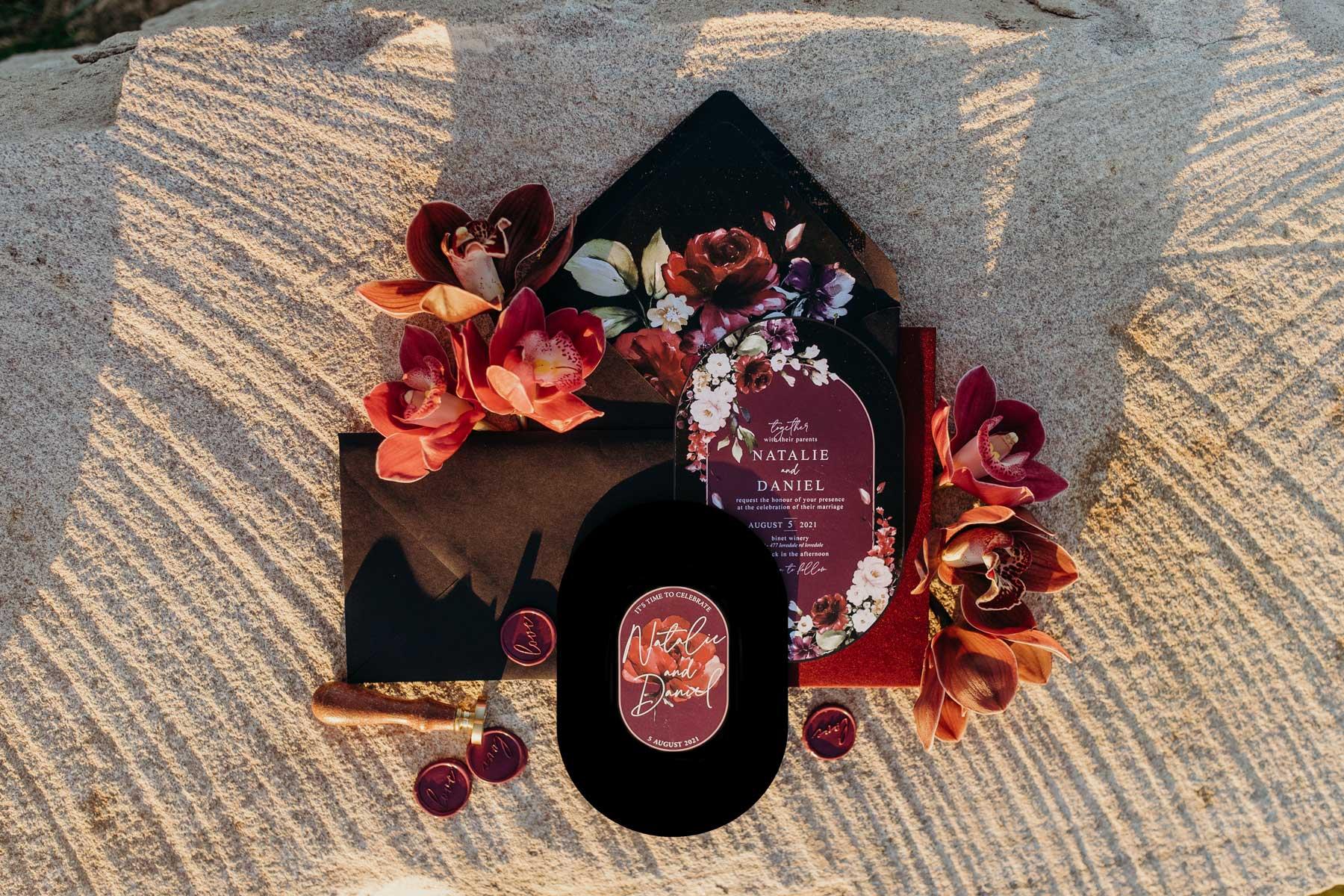 dark and moody wedding invitation stationery suite