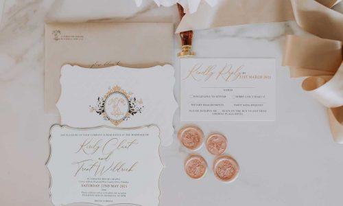 gold foil letterpress diecut luxurious wedding invitation suite